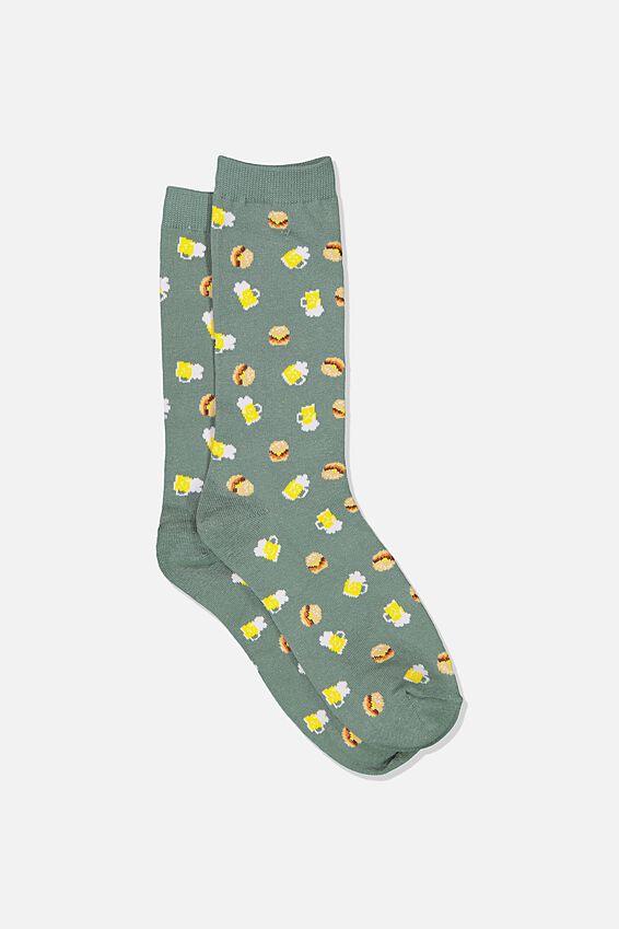 Mens Novelty Socks, BURGERS & BEERS GREEN