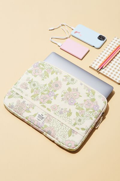 Take Me Away 13 Inch Laptop Case Cvs, MINT PINK MOLLY FLORAL