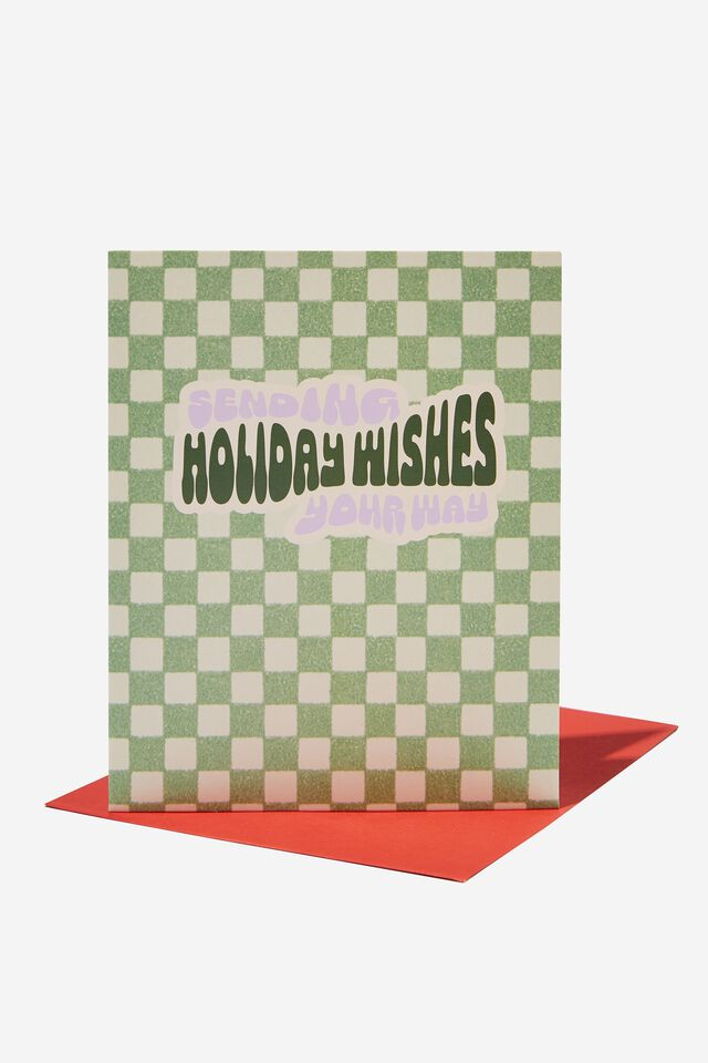 Christmas Card 2021, HOLIDAY WISHES CHECKERBOARD