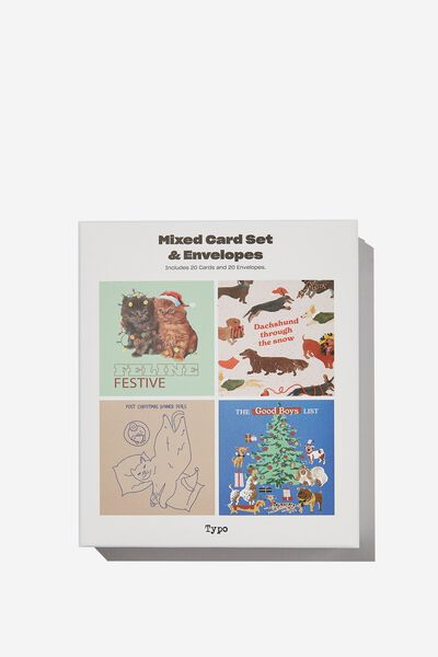 Christmas Card 20 Pack, FESTIVE CATS AND DOGS!