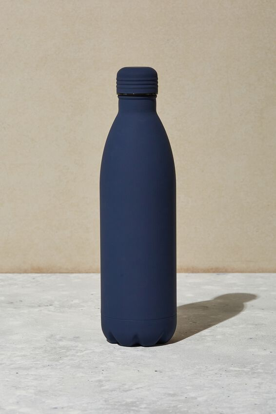 1L Metal Drink Bottle, NAVY RUBBER