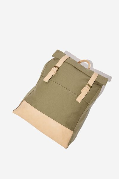 Roll Top Backpack, KHAKI MULTI