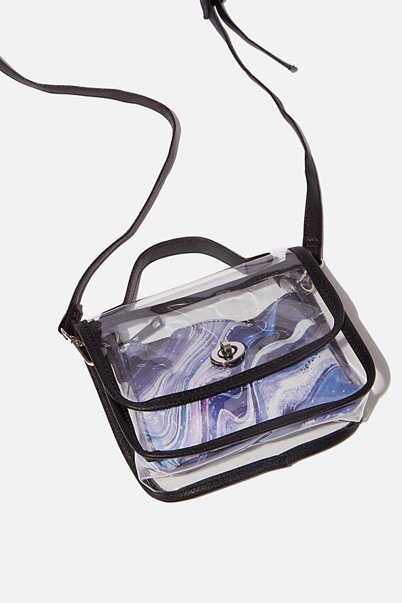 Mini Turnlock Satchel Bag, CLEAR WITH BLACK BIND