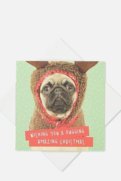 2018 Mini Christmas Card, MERRY PUGGING CHRISTMAS