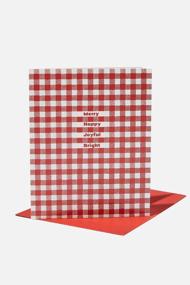 Christmas Card 2021, RED GINGHAM JOYFUL BRIGHT