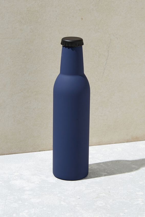 Bottle Top Metal Drink Bottle, NAVY RUBBER