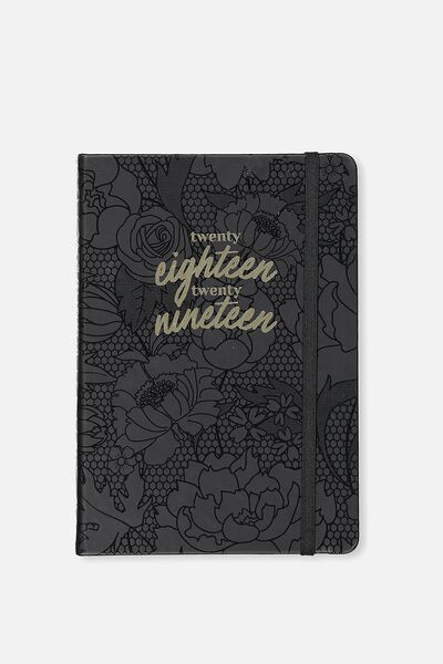 2018 19 A5 Daily Buffalo Diary, BLACK FLORAL