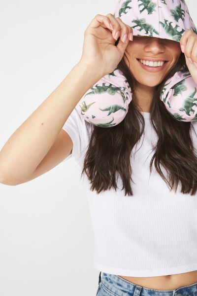 Hooded Travel Neck Pillow, BLUSH DINOS