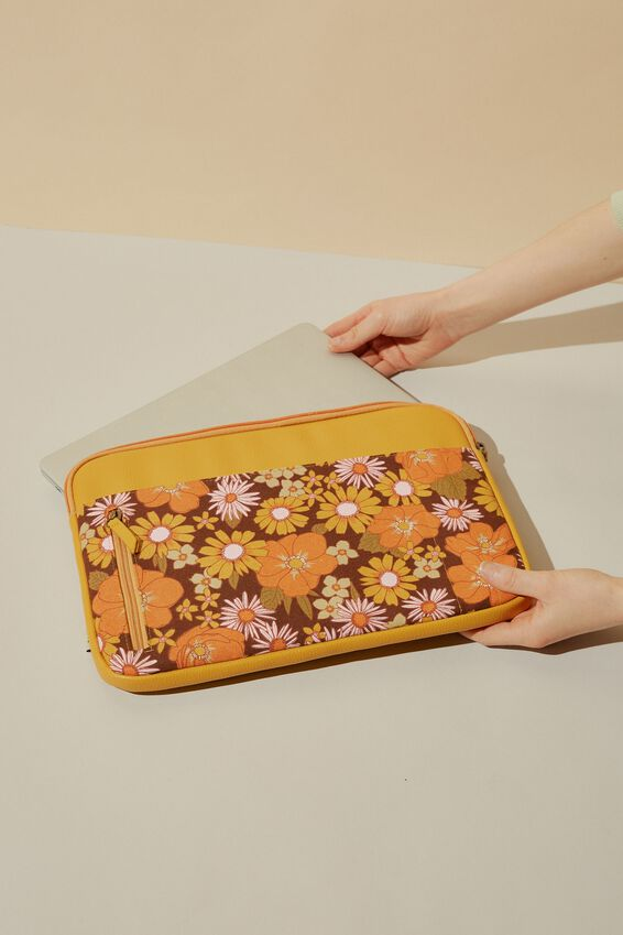 Take Charge 13 Inch Laptop Cover , STEVIE FLORAL WITH MUSTARD