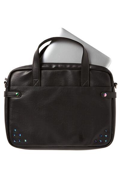 Varsity Laptop Bag, BLACK & OIL SLICK