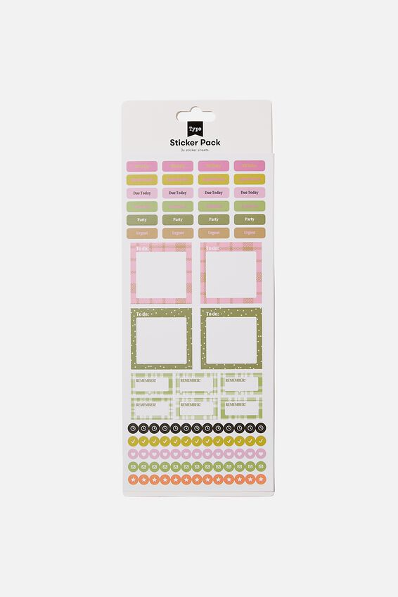 Diary Sticker Pack, PINK AND GREEN