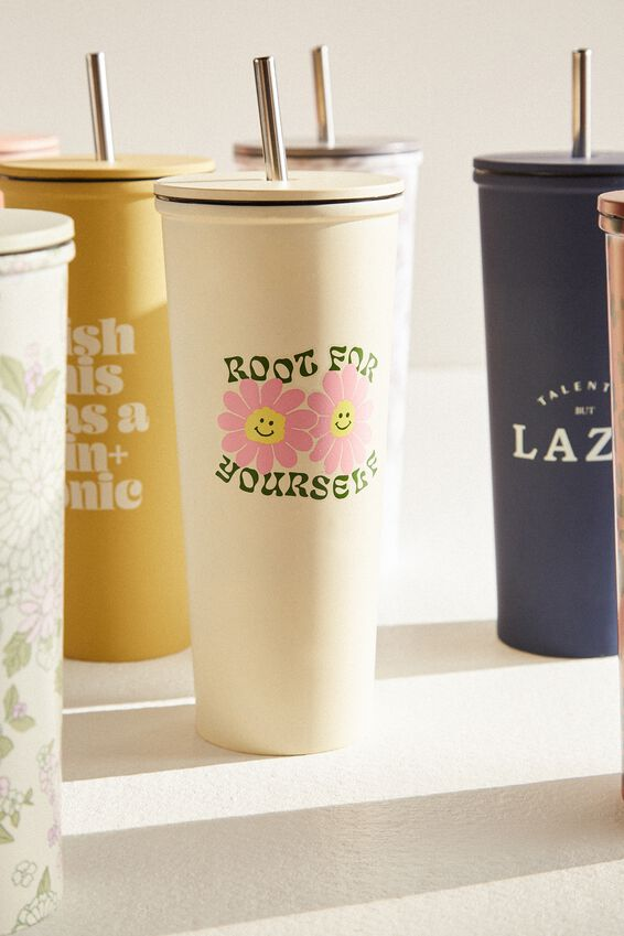 Metal Smoothie Cup, ROOT FOR YOURSELF ECRU