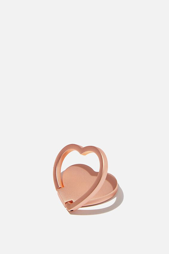 Metal Phone Ring, ROSE GOLD HEART