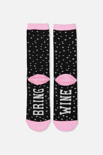 Womens Novelty Socks, BRING WINE