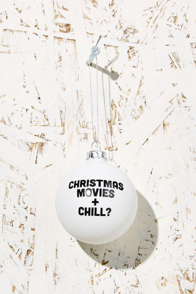 Small Glass Christmas Ornament, CHRISTMAS MOVIES BAUBLE