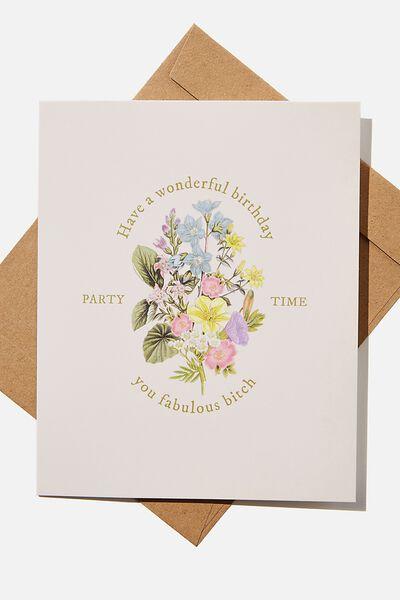 Funny Birthday Card, WONDERFUL BIRTHDAY BITCH FLORAL BUNCH!