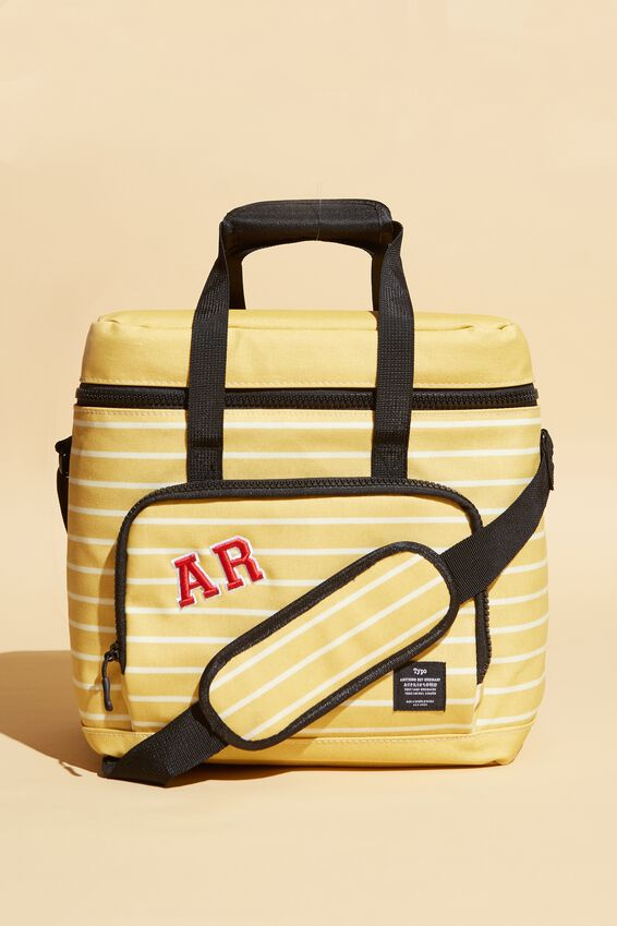 Day For It Cooler Bag Personalised, WASHED MUSTARD 70S STRIPE