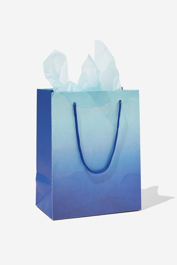 Small Gift Bag with Tissue Paper, OMBRE BLUE