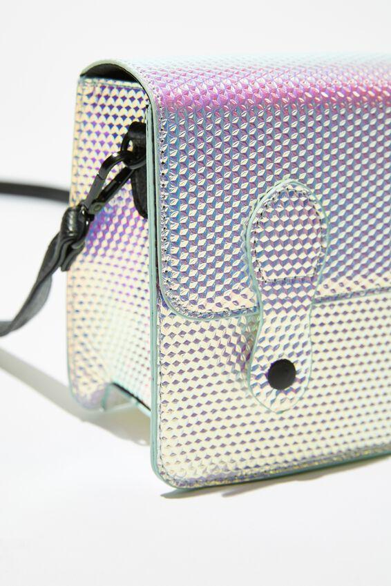 Mini Buffalo Satchel Bag, HOLOGRAPHIC