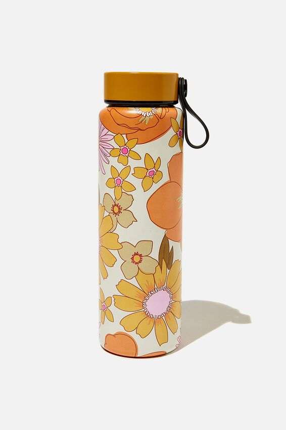 On The Move Metal Drink Bottle 500Ml, STEVIE FLORAL ORANGE & PINK