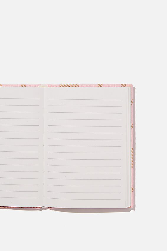 A6 Oxford Notebook, RETRO PINK CHECK