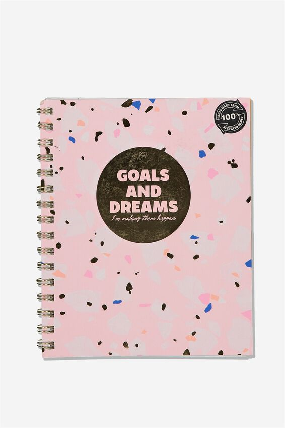 A5 Campus Notebook Recycled, GOALS DREAMS