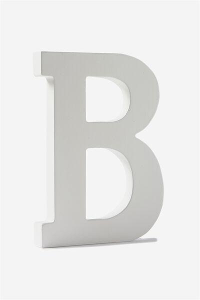 Letterpress Wooden Letter, WHITE B