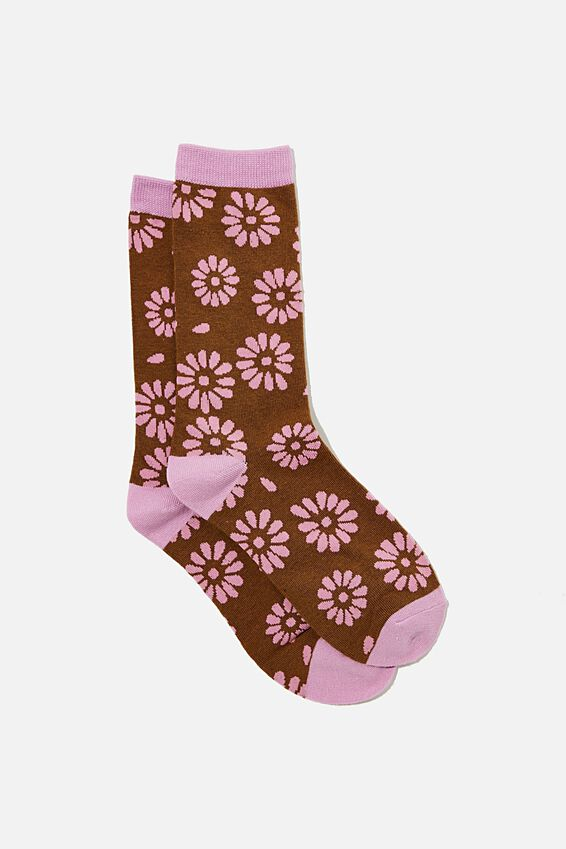 Socks, STAMPED DAISY PINK