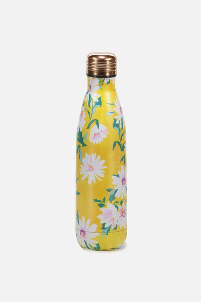 Metal Drink Bottle, YELLOW DAISY