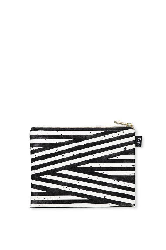 Spinout Pencil Case, BLACK & WHITE STRIPE