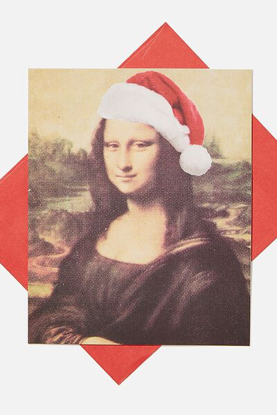 Christmas Card 2020, MONA LISA SANTA HAT