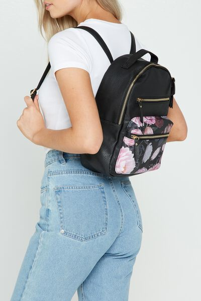 Mini Backpack, BLACK &  FLORAL