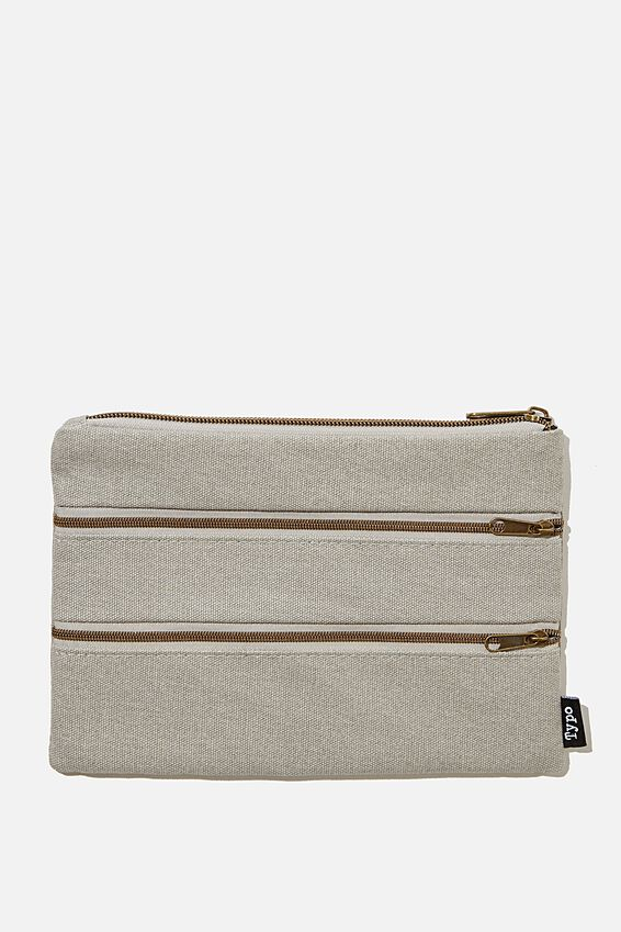 Double Archer Pencil Case, COOL GREY CANVAS