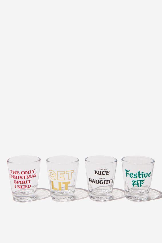Set 4 Shot Glasses, CHRISTMAS SPIRIT!