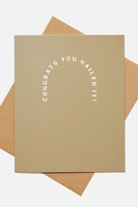 Congratulations Card, CONGRATS YOU NAILED IT KHAKI