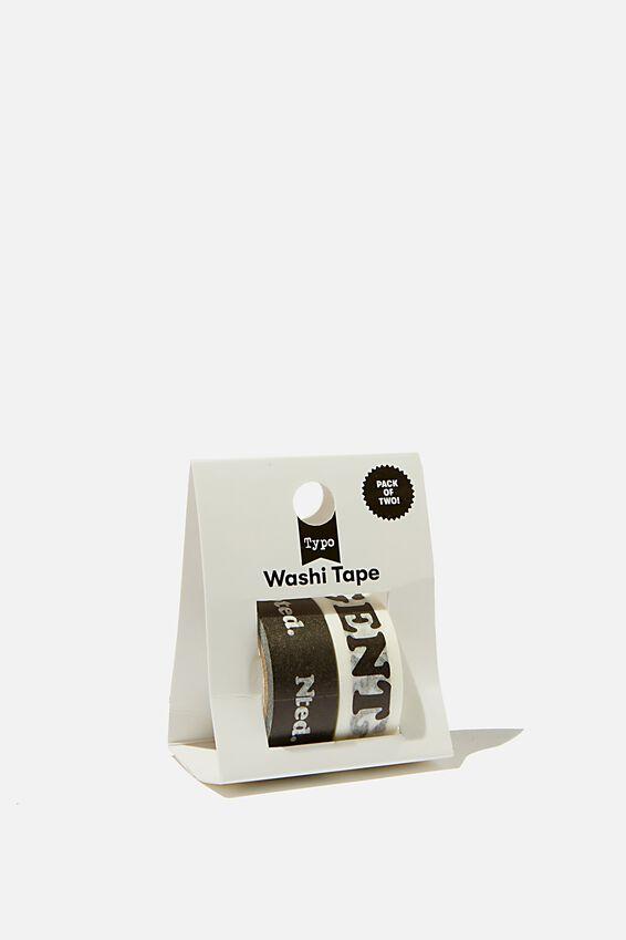 Washi Tape 2Pk, BLACK URGENT