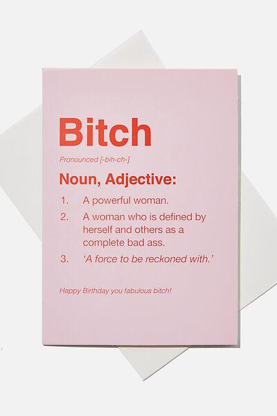 Funny Birthday Card, SMALL BITCH DEFINITION