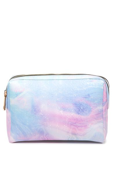 Dual Zipper Cosmetic Case, MARBLE PRINT
