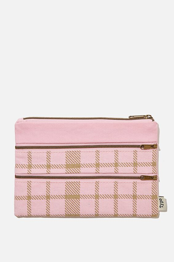 Double Archer Pencil Case, RETRO CHECK PLASTIC PINK