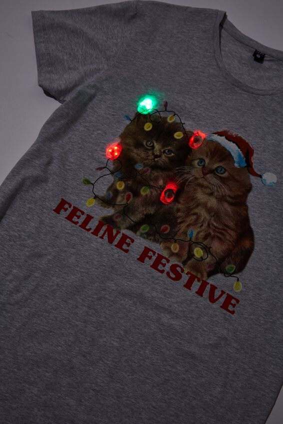 Novelty Tshirt, FELINE FESTIVE LIGHT UP