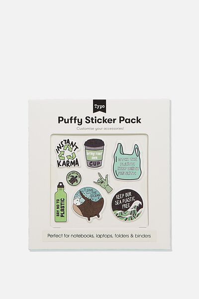 Puffy Sticker Pack, KEEP OUR OCEAN PLASTIC FREE