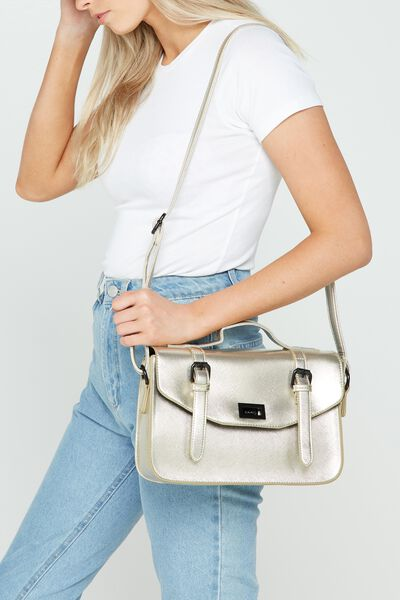 Verona Satchel, GOLD CROSS HATCH