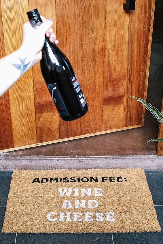 Door Mat, WINE AND CHEESE!