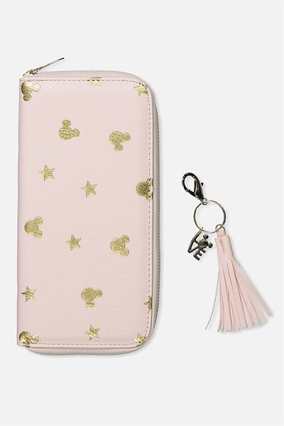 Wallet & Key Charm Set, LCN BLUSH MICKEY DITSY PRINT