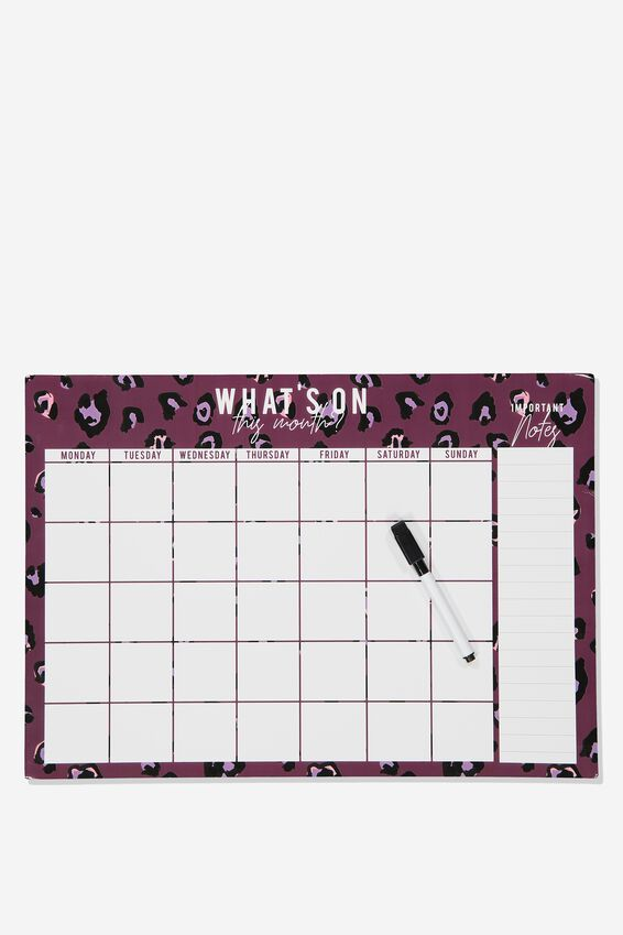 A3 Magnetic Monthly Planner, PURPLE LEOPARD