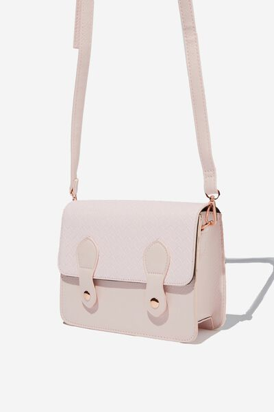 Mini Buffalo Satchel Bag, BLUSH WEAVE
