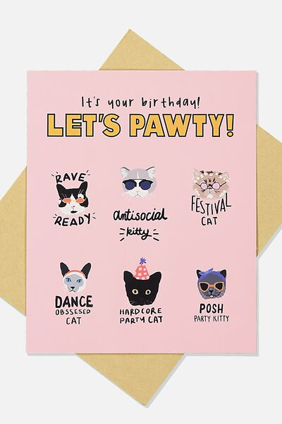 Funny Birthday Card, PAWTY CATS