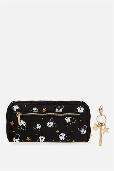 Wallet & Key Charm Set, LCN BLACK BASED MICKEY DITSY PRINT