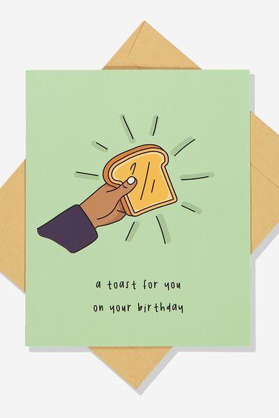 Premium Funny Birthday Card SCENTED BIRTHDAY TOAST