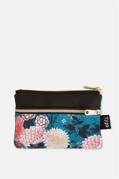 Mini Archer Coin Purse, BLACK AND FLORAL